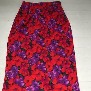 Vintage floral poppy midi skirt size 10